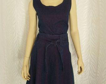 2-PC Purple Denim Skirt Set