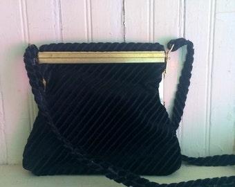 1940s Italian Black Velvet and Brass Formal Shoulder Purse