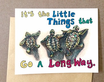 Baby Sea Turtles Thank You/Get Well/Thinking of You Hand-Drawn Greeting Card Blank inside