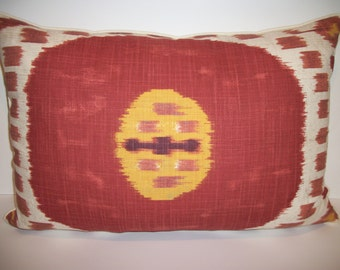Oasis Ikat Accent Pillow ~Rust. Down feather insert included.