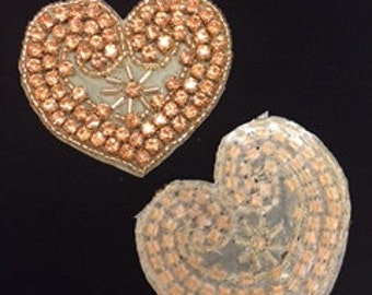Set of 2 Champagne Crystal Heart Appliques
