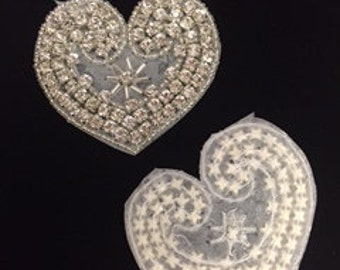 Set of 2 Silver and Crystal Heart Appliques