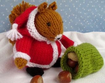 SANTA SQUIRREL - knitted squirrel knitting pattern - Instant Digital Download - PDF