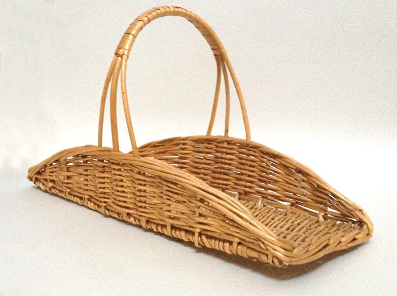 Rectangular Wicker Baskets With Handles : French vintage rectangular wicker basket with handle