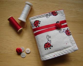 Handmade Sewing Needlecase in Ladybird Print Cotton Fabric
