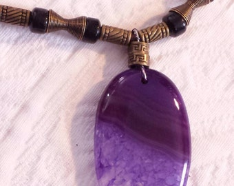 Amethyst Druzzy  Fun! Leather and bronze....