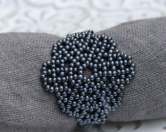 Beautiful Handmade Charcoal Beaded Flower Napkin Ring SET OF 4