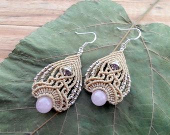 Rose quartz macrame earrings, micro macrame, boho earrings, macrame jewelry, fairy earrings, macrame stone, gemstone earrings