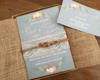 Vintage Wedding Invitation Set,Rustic Wedding Invitation,Elegant Wedding Invitation,Shabby Chic Wedding Invitation,Floral Wedding Invitation