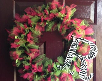 "18"" Tulle Wreath with Ribbon Accent and Initial"