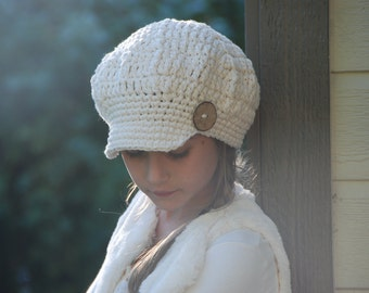 Newsboy slouchy hat, teen woman hat, beret style hat, offwhite cotton hat for women, off white newsboy cotton hat with button, made to order