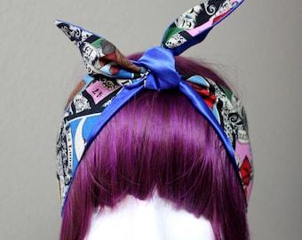 Royal Blue Loteria Headscarf-headwrap-bandana-rockabilly-pinup-retro-vintage inspired