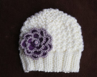 Knitted girls hat. White knitted hat. Winter knitted hat. Flower knit hat. Girls knitted hat  Any color flower, any size. For age 0-16 years