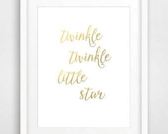 Nursery Art Print, 8x10, Instant Download, Twinkle Twinkle Little Star, Nursery Wall Art, Kids Room Wall Art, Nursery Wall Decor, Gold Print