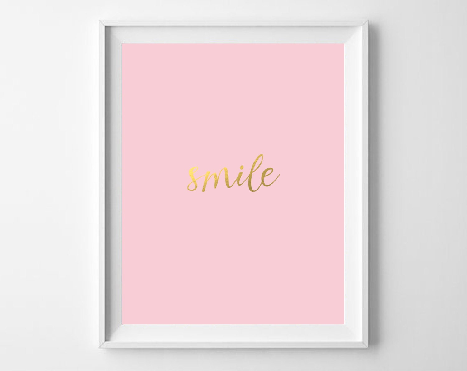 Smile gold foil print printable blush pink gold wall art for Gold wall art