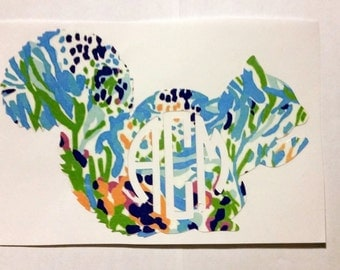 Monogrammed Lilly Pulitzer Inspired Squirrel Decal for Laptops, Cars, and Anything Else You Can Think Of!