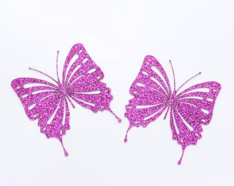 Pink Glittery Butterfly Embellishment / Card Topper - 2 Pack