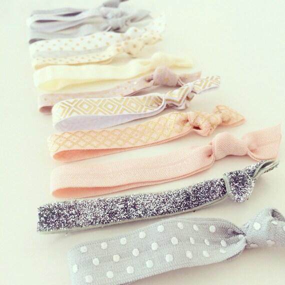 Metallic Neutrals Hair Tie Set | Silver + Gold Foil Creaseless Elastic Hair Ties, Ivory Peach White + Gray Hair Ties, Nude Neutral Hair Tie
