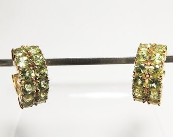 14Kt Gold Earrings Double Row Peridot Petite Hoop Earrings