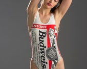 sale//One piece WHITE or BLUE Budweiser 'Bud' Beer Iconic/Logo Bathing Suit/Onepiece/Swimsuit/Swim/Red/White/Blue Beer/rare/collectors item/