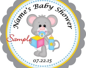 Baby Mouse Personalized Stickers - Favor Labels, Party Favor Stickers, Birthday Stickers, Baby Shower