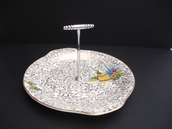 Gold Art Deco Cake Stand : 1920s Cake Stand Cake Plate decorated with a by FillyGumbo ...
