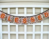 Thanksgiving banner, Blessed banner in fall colors leaf fabric, Thanksgiving bunting fireplace decor, autumn leaves holiday garland