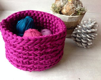 Fabric basket-Purple crochet cotton storage basket