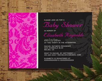 Hot Pink Damask Baby Shower Invitation Template| Girl Baby Shower Invitations | Boy Baby Shower Invites | Printable, Digital PDF,DIY Printed