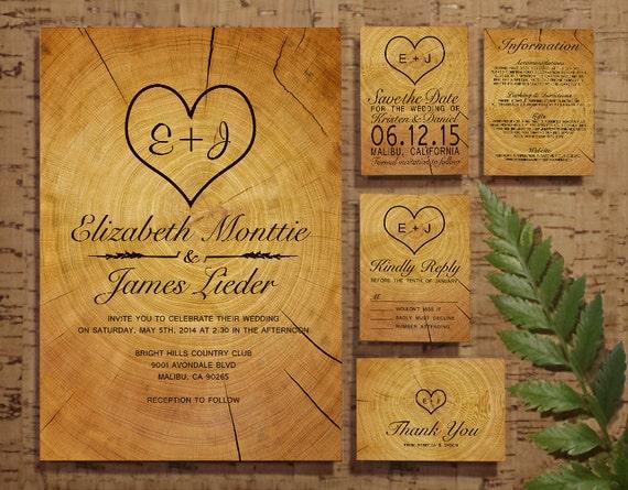 Wedding Invitation Rsvp Date: Tree Ring Wedding Invitation Set/Suite By InvitationSnob