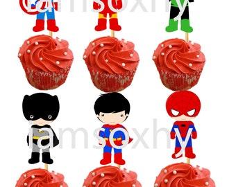 Superhero die cuts for cupcake/cakepop toppers