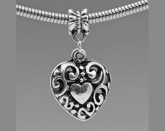 1 Filigree Dangling Heart Charm Bead For European Style Charm Bracelets