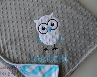 Personalized Blanket, Minky Blanket, Personalized Owl Blanket, Baby Blanket, Choose Your Colors, Choose Your Size