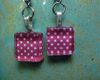 Charming handmade glass tile earrings!