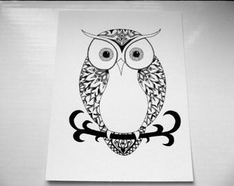 Tribal Owl Print - Original Drawing - Black and White Print