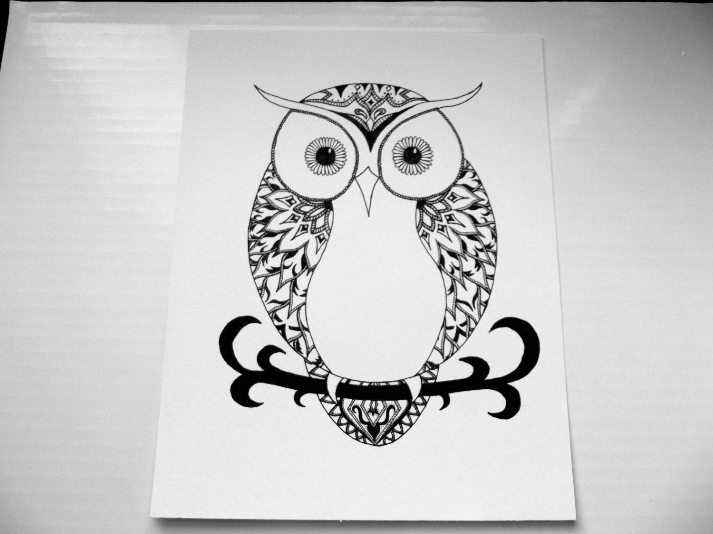 Chouette tribal print dessin original noir et blanc par - Dessins de chouette ...