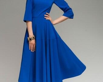 Bright Dress Woman,Cobalt Blue Dress Day ,Evening Dress Flared Skirt.