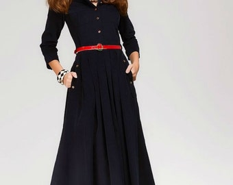 Navy Blue Maxi Dress Military.Work Dress  With Pockets.Retro Style Flared Skirt Dress Shirt Collar.