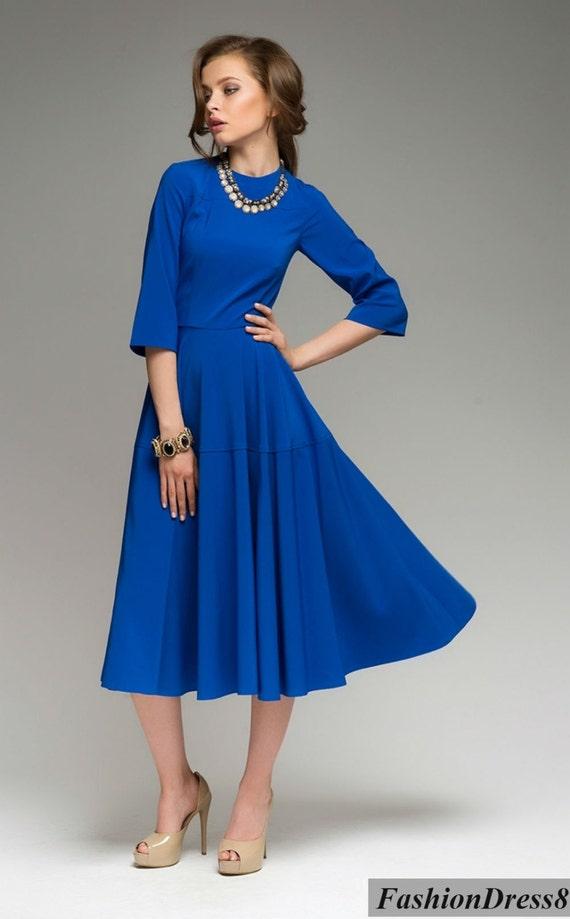 Платье синее миди