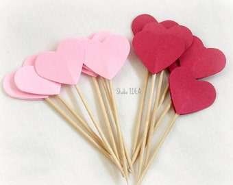 24 Pink & Red double-sided Heart 1in Cupcake Toppers, Food Picks or CHOOSE YOUR COLORS - Set of 24 pcs
