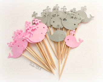 24 Mixed Grey & Light Pink Baby Whale Cupcake Toppers, Food Picks-Set of 24 pcs