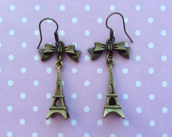 Bronze Eiffel Tower Paris Dangle Earrings With Bows