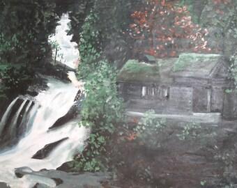 Antique Bulgarian art landscape oil painting