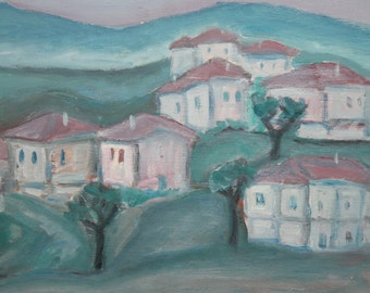 Bulgarian art expressionist oil painting village landscape
