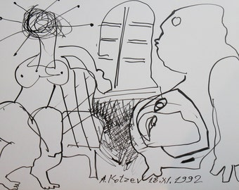 1992 ink drawing abstract figures signed