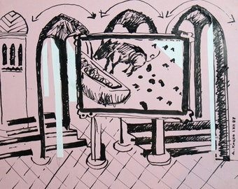 1987 ink drawing abstract interior signed
