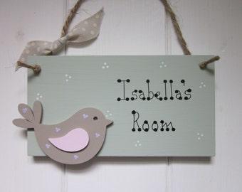 Cute bird personalised name bedroom nursery baby door sign plaque