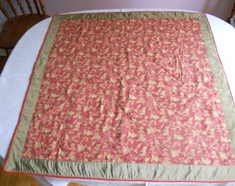 """Cotton and silk square tablecloth, khaki green on rusty red print table topper, 34"""" x 34"""" tablecloth, ready to ship"""