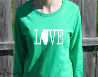 Love Illinois Shirt, Long Sleeve Illinois Shirt, Womens