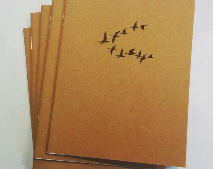 Migrating Birds - Mini Notebook, diary, journal, multipack, flying bird, migration, geese, going south, custom printing included